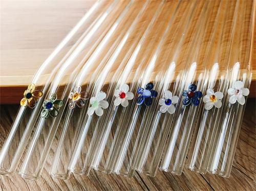 flower glass straw