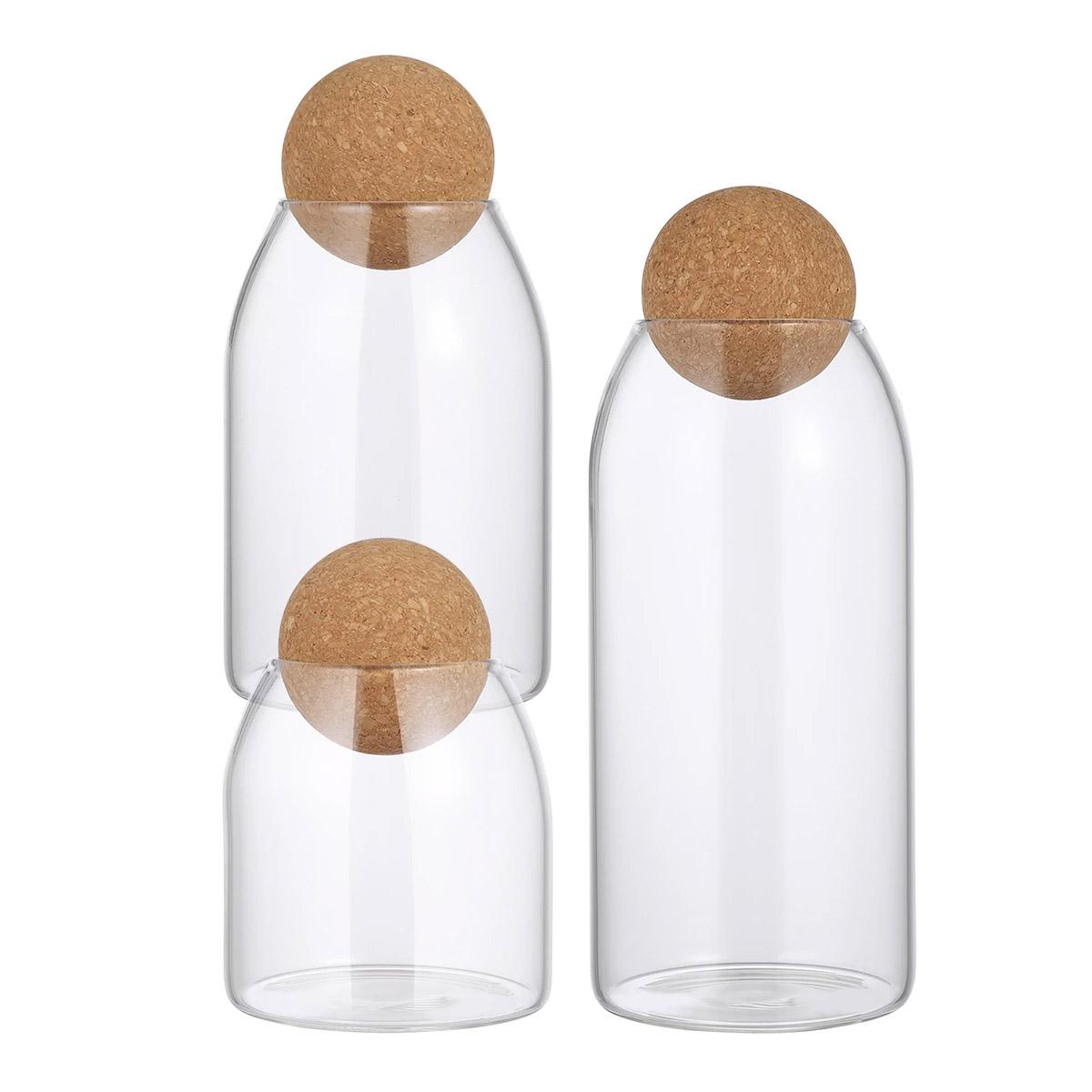 glass jar with cork lid set